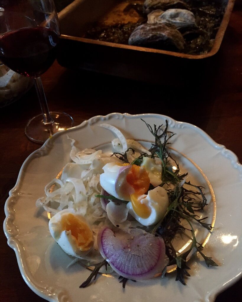 Fennel, egg salad with mustard salad