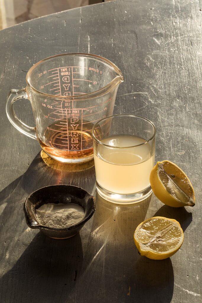 ACV, kombucha, citron och pulver.