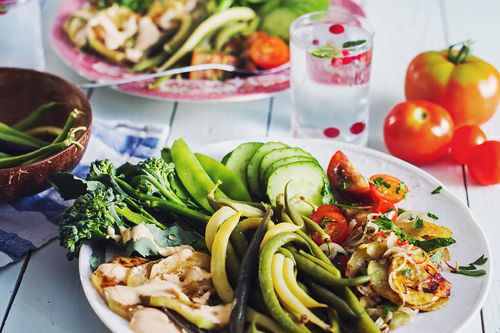 Skördemiddag på ekologiska och närodlade grönsaker