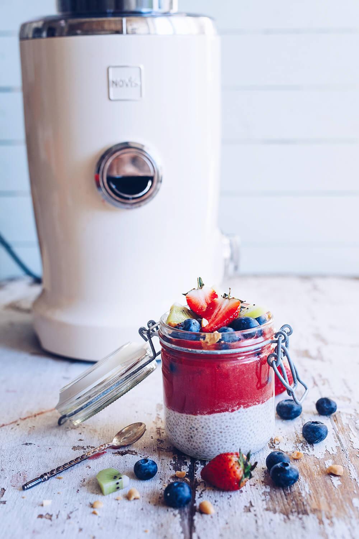 Chiapudding med jordgubbspuré - Novis vita juicer